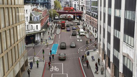 An artist's impression of the north-south Cycle Superhighway on Farringdon Road, looking southbound