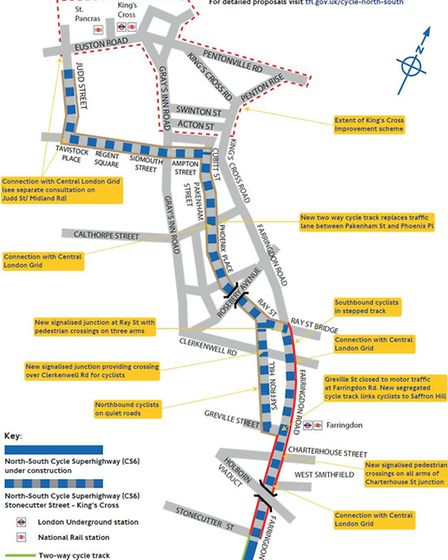 The north-south cycle 'superhighway', from King's Cross to Stonecutter Street. Picture: TfL
