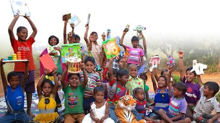 Children at the Astha orphanage in the tribal region of Koraput, Orissa with the donated toys
