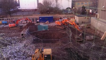 The scene of the construction site off Goswell Road, Finsbury, last Wednesday afternoon. Picture: Da
