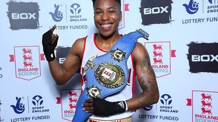 Islington BC's Cherrelle Brownwith the England Boxing Elite light-welterweight belt. Pic: England Bo