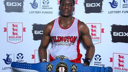 Islington BC's Sherif Musah with the England Boxing Elite heavyweight belt. Pic: England Boxing