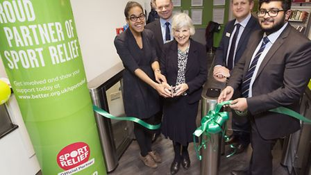 Cutting the ribbon � Cllr Kaya Comer-Schwartz and Cllr Janet Burgess with Better�s Tony Wallace, Mat