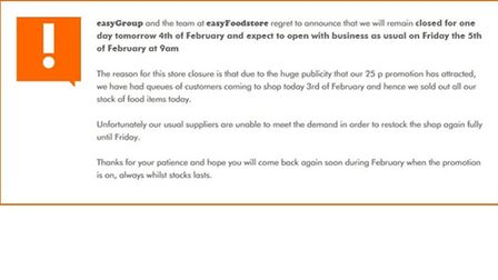 A notice on the website informs shoppers the store will reopen tomorrow