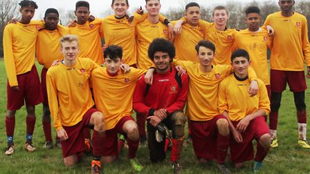 The triumphant Brent Under-16 team which overcame Croydon at the weekend on penalties