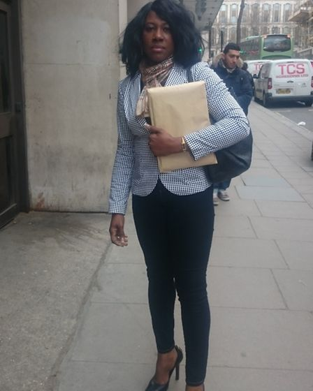 Marva Gordon outside the Central London County Court where she obtained an injunction against her la