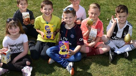 Some of the delighted children at last year's Easter Egg Trail in Sparrows Nest Gardens in Lowestoft