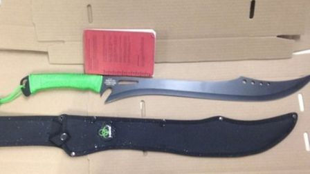 """Mr Goldsmith was """"shocked"""" to discover Zombie Killer knives like this one could be ordered online"""