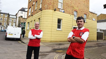 Kevin Carty, right, takes a trip down memory lane outside the former Moray premises in Finsbury Park