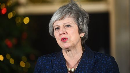 Prime Minister Theresa May makes a statement outside 10 Downing Street. Photograph: Victoria Jones/P
