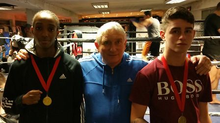 Hooks ABC coach Steve Newland (centre) with Eddie Barrett (right) and Nathan Brown (left) at Hooks A