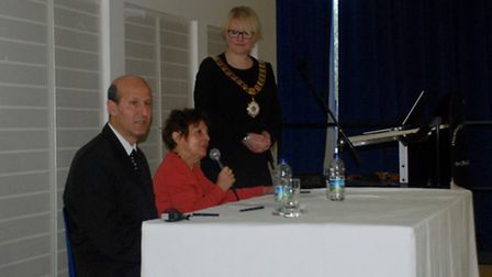 Janine Webber, centre, speaks to pupils at Highbury Grove School today as part of Holocaust Memorial