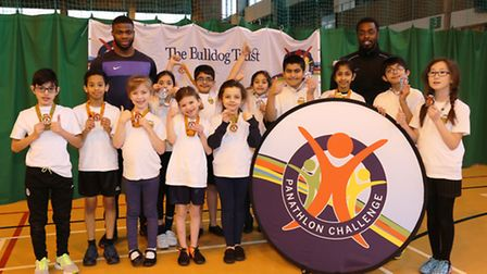 Laycock Primary School's team at the London Panathlon for deaf and hearing-impaired children