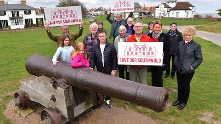 Save our Southwold Hospital steering group meet on Gun Hill ahaead of a public meeting.PHOTO: Nick B