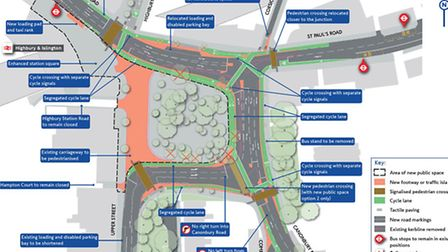 A map showing the plans proposed by TfL to pedestrianise Highbury Corner