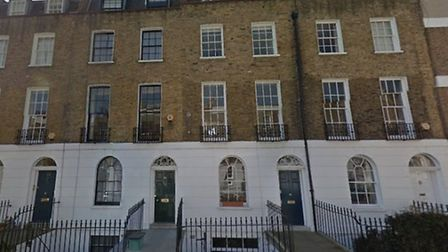 16, Noel Road, pictured second left, where Mr Bluring fell to his death. Picture: Google Street View