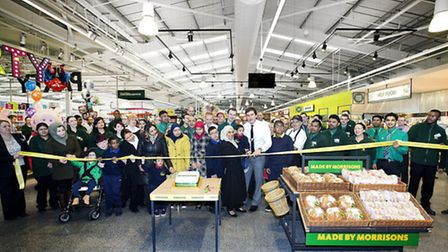 Crowds turned out to see the ribbon cut at the new Morrison's supermarket launch in Colindale