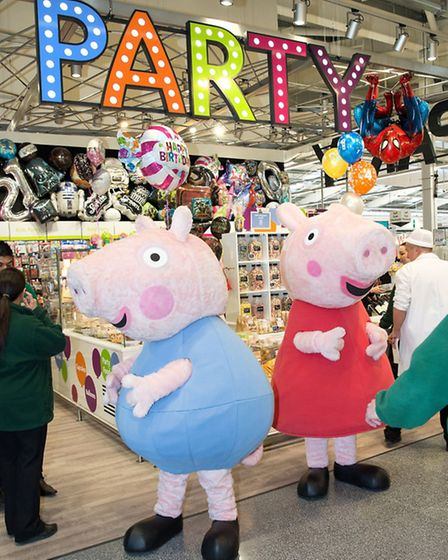 Peppa Pig greeted shoppers at the launch of the new Morrison's supermarket in Colindale which has it