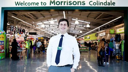 Store manager Jonathan Potts outside the new Morrison's supermarket in Colindale