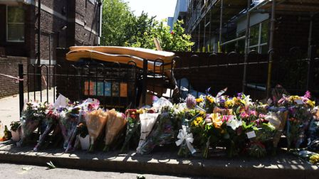 Floral tributes were laid in June last year in Caldy Walk, Canonbury, where Stefan Appleton collapse