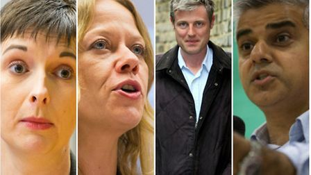 Mayoral candidates including (L-R) Lib Dem Caroline Pidgeon, the Green Party's Sian Berry, Tory Zac