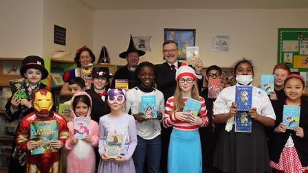 St Robert Southwell primary school got all dressed up for World Book Day attended by Barry Gardiner