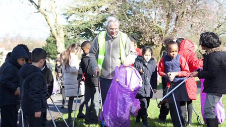 The Duke of Gloucester with pupils from Park Lane Primary School (Photo by Adam Tiernan Thomas)
