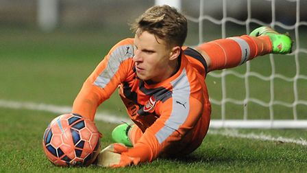 Hugo Keto makes a save in the penalty shoot out during the FA Youth Cup tie (Photo by David Price/Ar