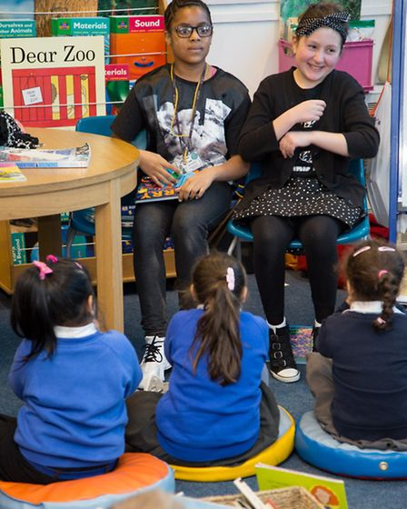 Pupils became teachers and at Chalkhill School's Upside Down Day for Syrian refugee children. Pic cr