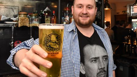 Hop & Berry landlord Tom Buxton is giving away up to 100 free pints a day during Lent. Picture: Ken