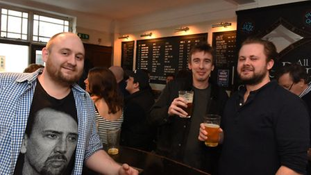 Hop & Berry landlord Tom Buxton pictured on Saturday afternoon with customers enjoying a free beer.
