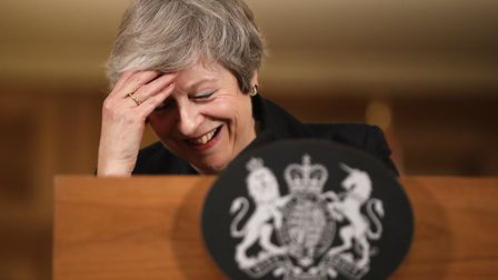 Prime Minister Theresa May reacts during a press conference at 10 Downing Street. Photograph: Matt D