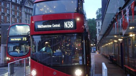 """The collision, involving an N38 """"Boris bus"""", happened in Rosebery Avenue, Clerkenwell, at about 1am,"""