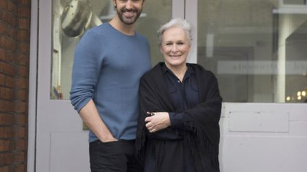 Glenn Close and Michael Xavier outside the ENO in Broadhurst Gardens West Hampstead rehearsing for S