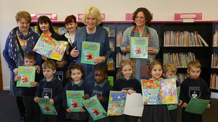 The Duchess of Cornwall gave free books to nursery pupils from Sacred Heart Primary School, in Hollo