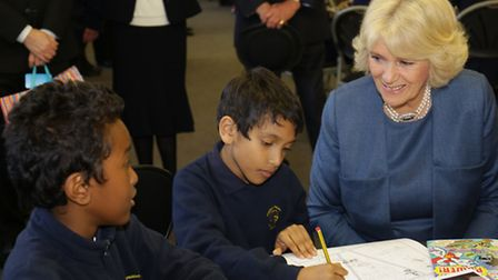 Pakeman Primary School pupils talk to the Duchess of Cornwall in Islington Central Library. Picture: