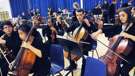 Highbury Grove students with the National Youth Orchestra