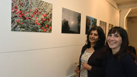 Organisers Arti Prashar, from Spare Tyre, and Anat Toffell, from Solace Women's Aid, at the exhibiti