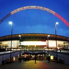 The arches of the stadium were lit up as a mark of respect (Pic: Twitter @FA)