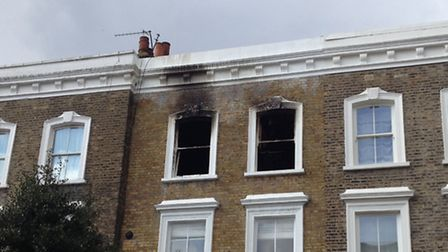 The second floor flat in Crowland Terrace, Canonbury, was gutted by the blaze on Tuesday morning. Pi