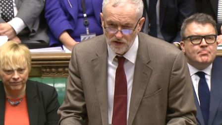 Labour leader Jeremy Corbyn speaks during Prime Minister's Questions in the House of Commons yesterd