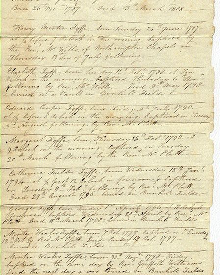 A document showing that Jet-Marie Payne's ancestors were buried at Bunhill Fields