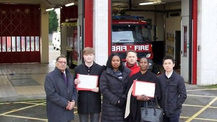Navin Shah with Dawn Butler and Labour councillors outside Willesden Fire Station (Pic: Adam Thomas)