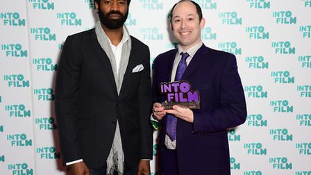 Teacher of the Year winner Simon Pile with Nicholas Pinnock during the 2016 Into Film Awards at Odeo