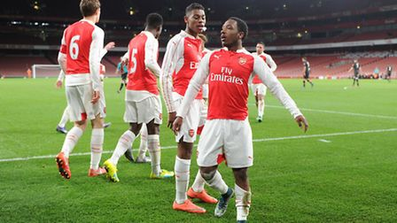 Kaylen Hinds celebrates scoring Arsenal's second goal in their FA Youth Cup quarter-final against Li