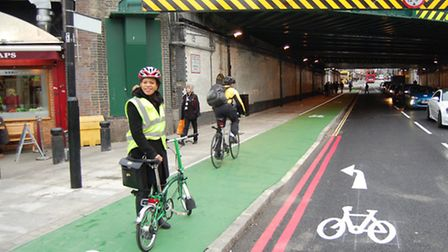 Cllr Claudia Webbe, Islington Council leader for environment and transport, demonstrates the changes