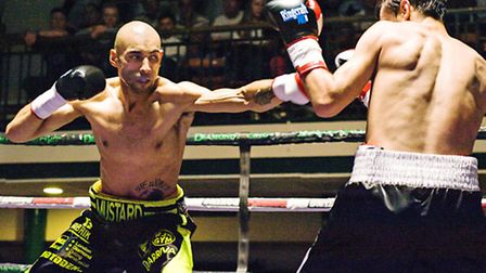 'Mustard Mike' Peart (left) in action against Danail Stanoev. Pic: Philip Sharkey/TGS Photo