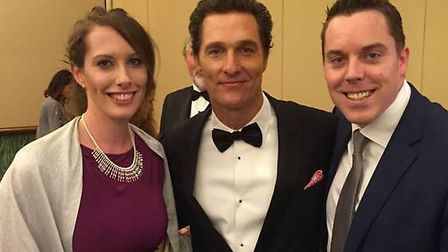 Colin Hegarty with his wife Sarah and Hollywood star Matthew McConaughey at the Varkey Foundation Gl