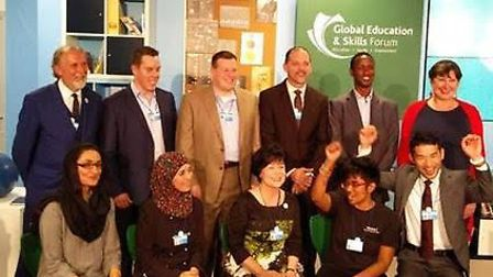 Colin Hegarty with the nine other finalist at the Varkey Foundation Global Teacher Prize 2016