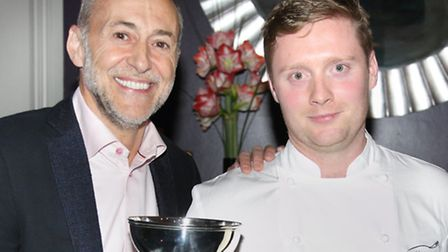 Adam Thomason with Michel Roux Jr (left), after coming second in a French contest